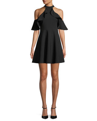 Likely Lavelle Cold-Shoulder Ponte Fit-and-Flare Dress