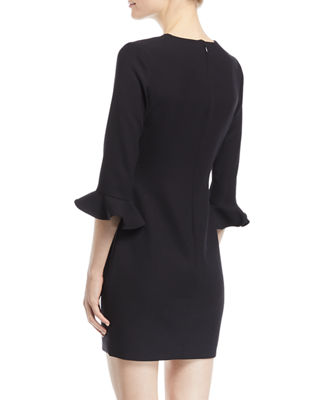 Image 2 of 2: Bedford 3/4-Sleeve Crepe Cocktail Dress