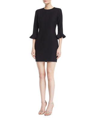 Image 1 of 2: Bedford 3/4-Sleeve Crepe Cocktail Dress