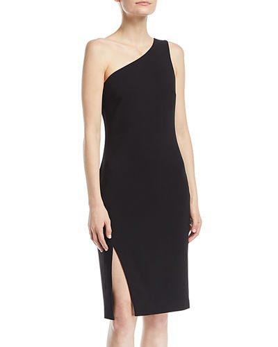 Helena One-Shoulder Side-Slit Straight Crepe Dress