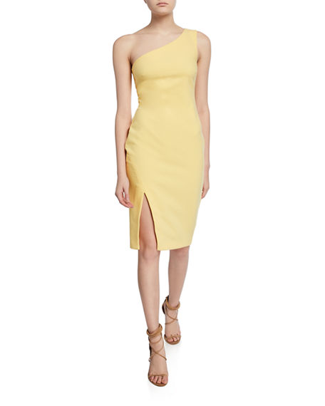 Likely Helena One-Shoulder Side-Slit Straight Crepe Dress