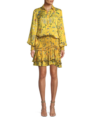Alexis Rianna Long-Sleeve Floral-Print Satin Dress