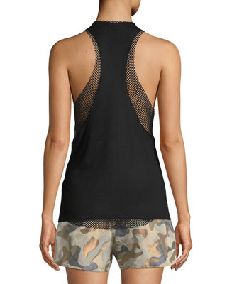 Image 2 of 2: Villa Open Mesh Racerback Tank Top