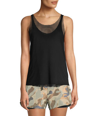 Image 1 of 2: Villa Open Mesh Racerback Tank Top