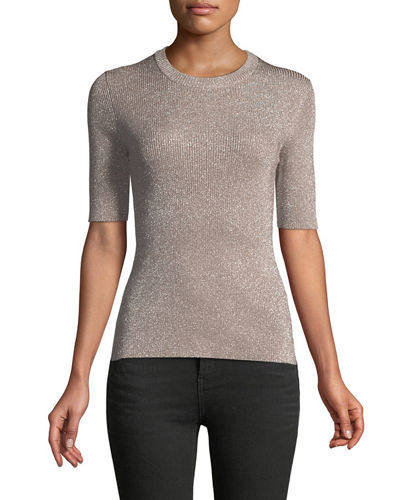 Short-Sleeve Crewneck Metallic Rib-Knit Sweater