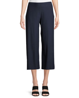 Eileen Fisher Wide-Leg Washable-Crepe Cropped Pants