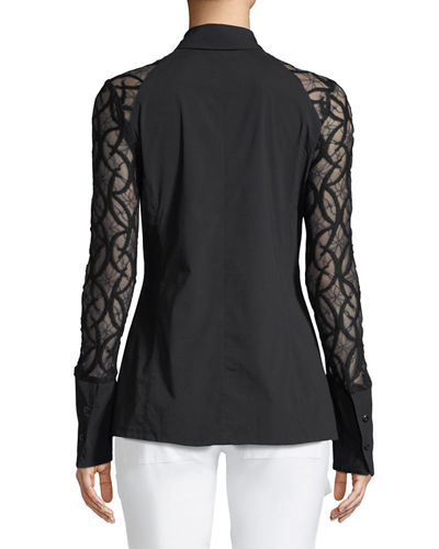 Raina Lace-Sleeve Shirt
