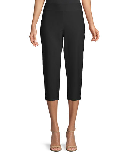 Slim Crepe Capri Pants, Plus Size