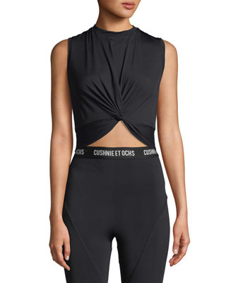 Cushnie Et Ochs Xiamara Twist-Front Sleeveless Crop Top