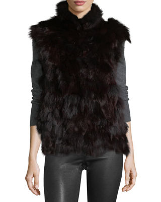 Image 3 of 3: Fur Open-Front Vest
