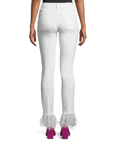 Le High-Rise Straight-Leg Jeans with Feather Hem