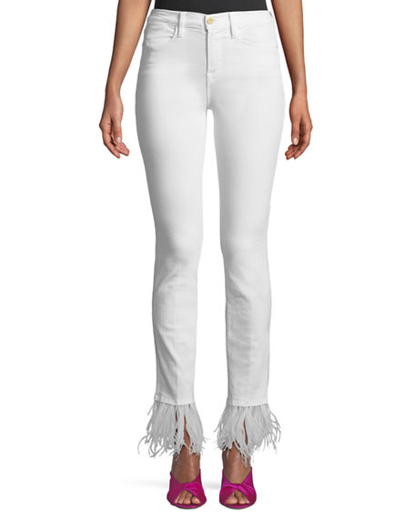 FRAME Le High Straight Lace-Up Jeans, Blanc | Neiman Marcus