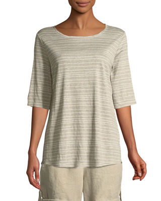 Eileen Fisher Half-Sleeve Striped Jersey Top