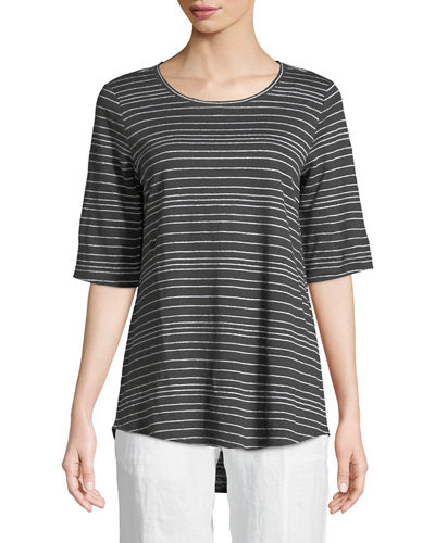 Half-Sleeve Striped Jersey Top