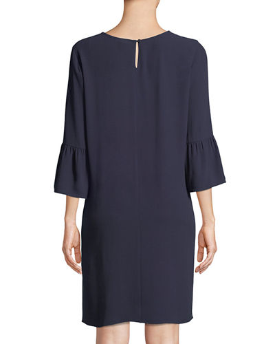 Flutter-Sleeve Silk Shift Dress