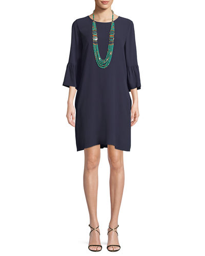Eileen Fisher Flutter-Sleeve Silk Shift Dress