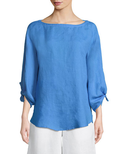 Eileen Fisher Tie-Sleeve Linen Top and Matching Items