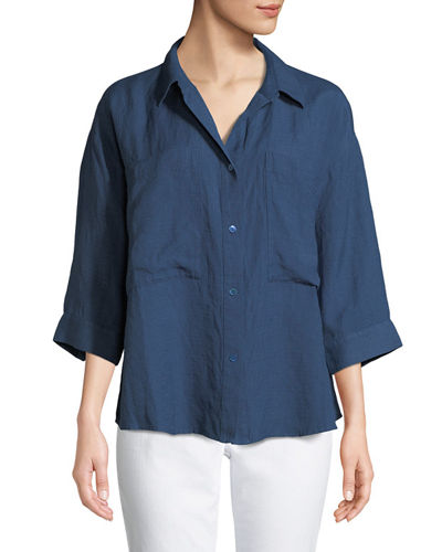 Eileen Fisher 3/4-Sleeve Linen-Blend Boxy Shirt, Petite and