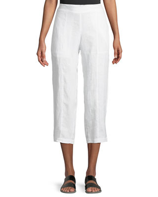 Organic Linen Pull-On Cropped Pants