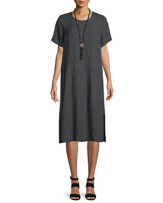Eileen Fisher Organic Linen-Blend Shift Dress