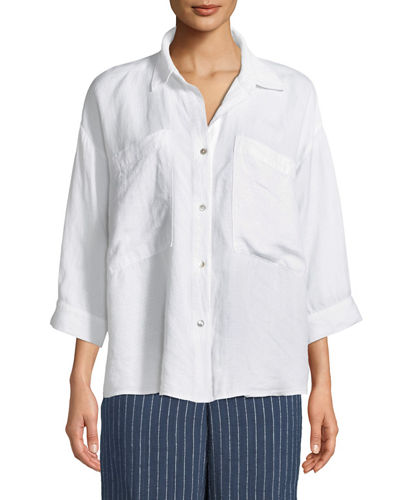 3/4-Sleeve Linen-Blend Boxy Shirt, Plus Size