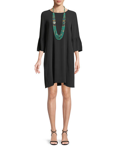 Flutter-Sleeve Silk Shift Dress, Plus Size