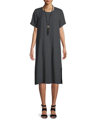 Organic Linen-Blend Shift Dress, Plus Size
