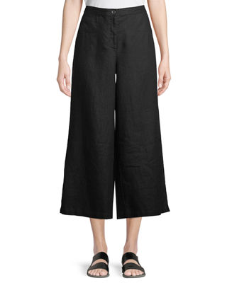Eileen Fisher Wide-Leg Cropped Heavy Linen Pants, Petite