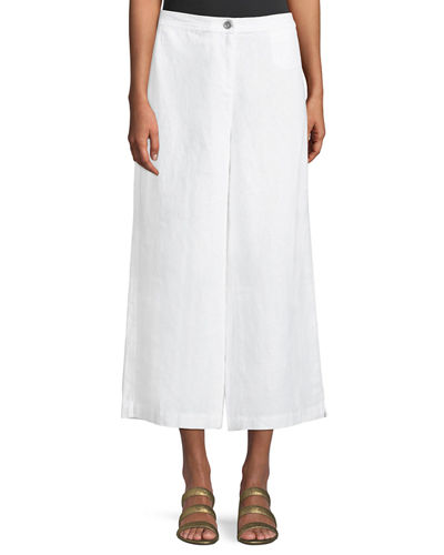 Wide-Leg Cropped Heavy Linen Pants, Petite