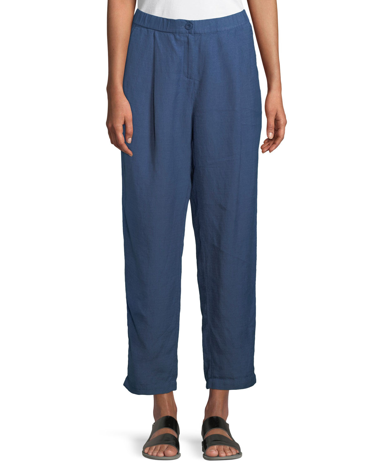 Organic Linen-Crepe Pleated Ankle Trouser Pants