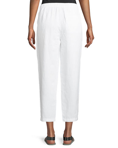 Organic Linen-Crepe Pleated Ankle Trouser Pants, Petite