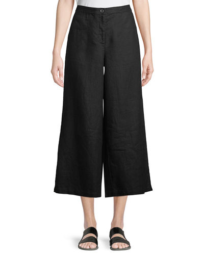 Wide-Leg Cropped Heavy Linen Pants, Plus Size