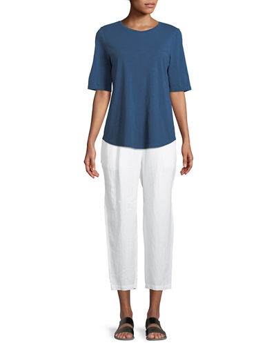 Organic Linen-Crepe Pleated Ankle Trouser Pants, Plus Size