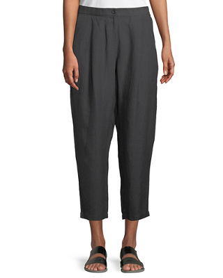 Eileen Fisher Organic Linen-Crepe Pleated Ankle Trouser Pants,