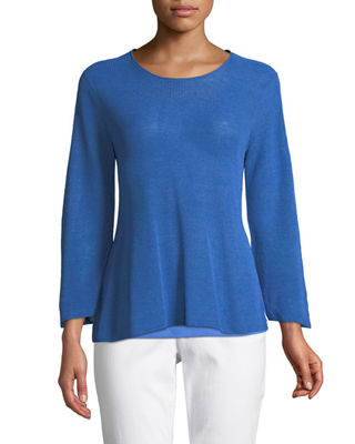 3/4-Sleeve Linen-Blend Sweater