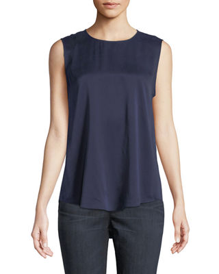 Image 1 of 2: Silk Round-Neck Tank