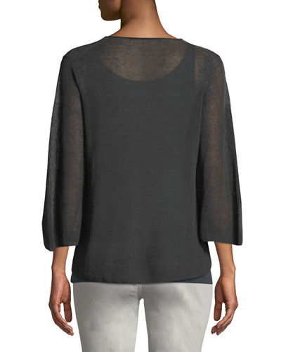 3/4-Sleeve Linen-Blend Sweater, Petite