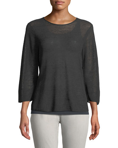 Eileen Fisher 3/4-Sleeve Linen-Blend Sweater, Petite and Matching