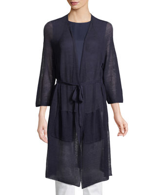 Eileen Fisher Linen-Blend Belted Cardigan