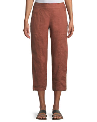 Organic Linen Pull-On Cropped Pants, Petite