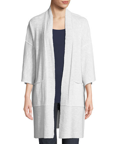 Heathered Linen-Blend Kimono-Sleeve Cardigan, Plus Size