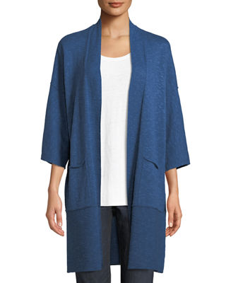Eileen Fisher Heathered Linen-Blend Kimono-Sleeve Cardigan