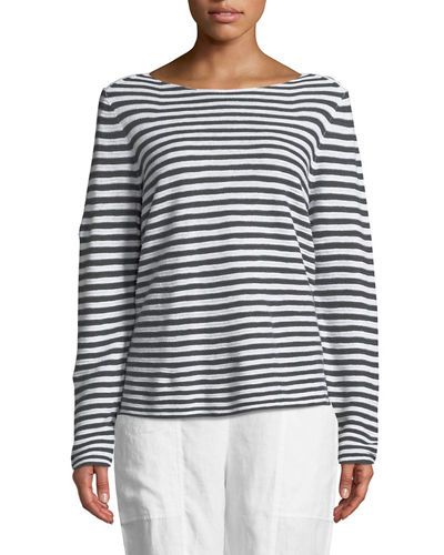 Eileen Fisher Striped Long-Sleeve Organic Linen/Cotton Sweater,