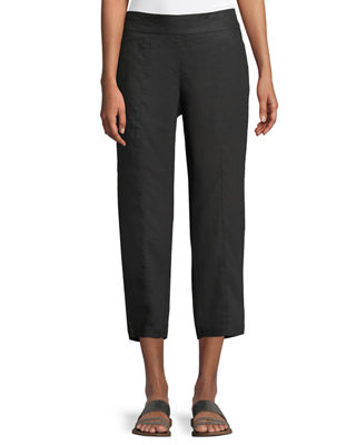 Eileen Fisher Organic Linen Pull-On Cropped Pants, Plus