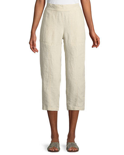 Organic Linen Pull-On Cropped Pants, Plus Size