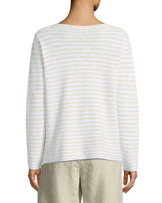 Image 2 of 4: Striped Long-Sleeve Organic Linen/Cotton Sweater