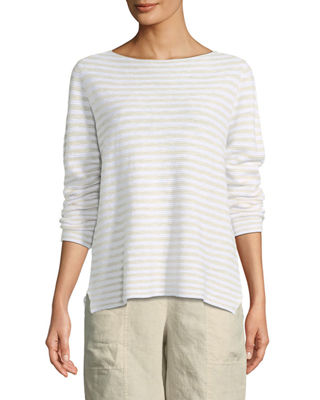 Eileen Fisher Striped Long-Sleeve Organic Linen/Cotton Sweater