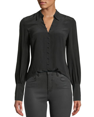 L'Agence Naomi Button-Front Silk Blouse and Matching Items