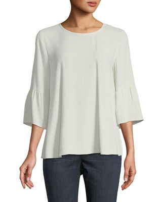 Round-Neck Flutter-Sleeve Silk Top