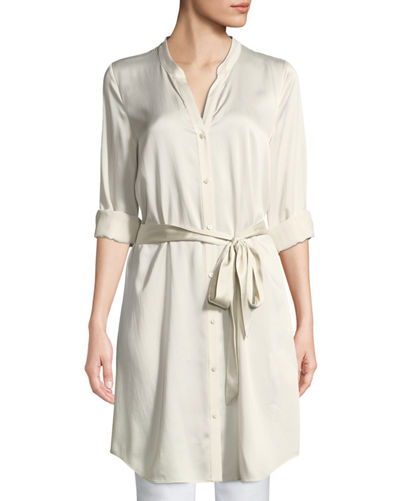 Silk Charmeuse Button-Front Long Shirt